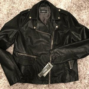 BNCI Faux Suede Distressed Leather Moto Jacket